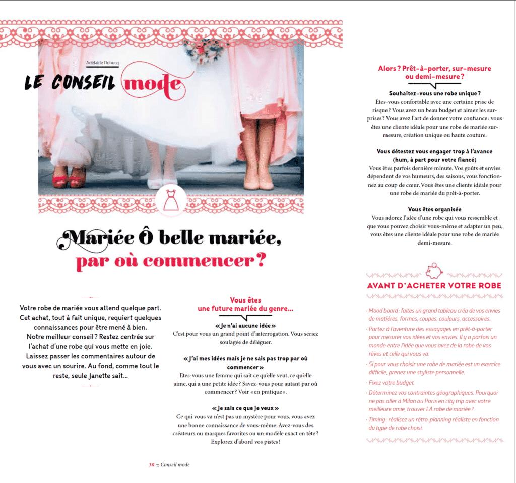 Janette Magazine Octobre 2018 Le conseil mode Conseil mode Robe de Mariée Luxembourg Adélaïde Dubucq journaliste mode